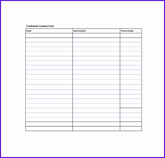 Customer Contact List Template Printable 532511