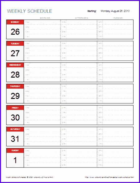 6 day planner excel template - exceltemplates