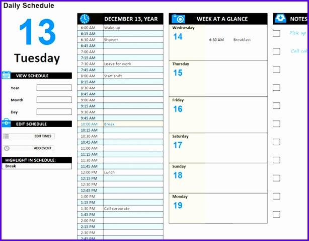 Daily work schedule 614478