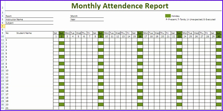Attendance Sheet for Employees Excel 2016 905449