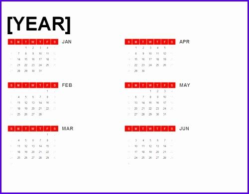 6 Month Calendar Template Excel 500391
