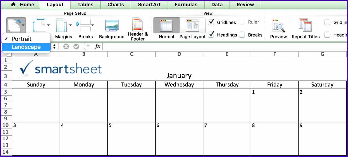 Orientation Calendar in Excel 1432649