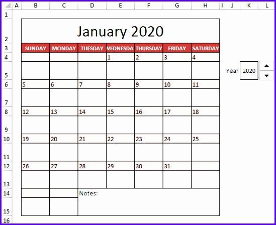 Excel 2020 Calendar