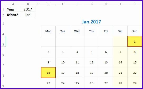 Monthly Excel Calendar Demo 2017 & 2018 542338