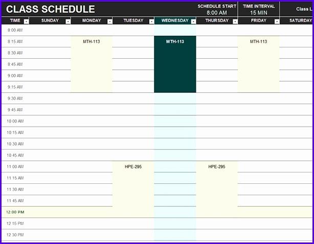 Student schedule 614478