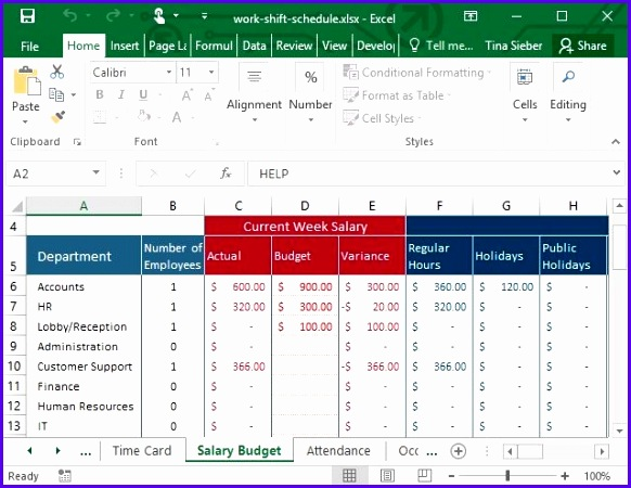 Work Shift Excel Template