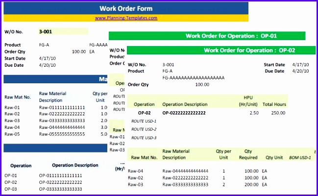 Examples Excel form Templates Free Hkges Awesome Work order form Excel 714435