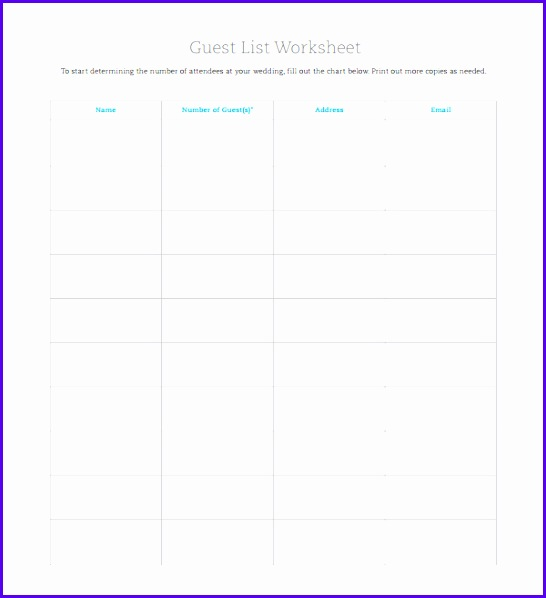 Examples Excel Guest List Template Usdda New Wedding Party List Template 600650