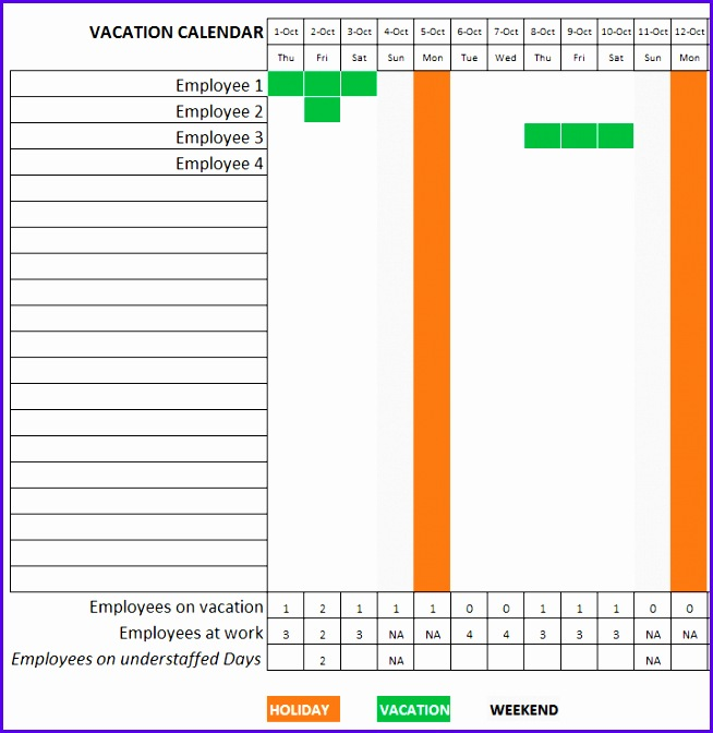 Employee Vacation Planning Template Calendar View 654672