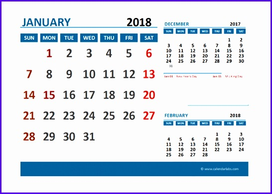 2018 Excel Calendar with Holidays 546389