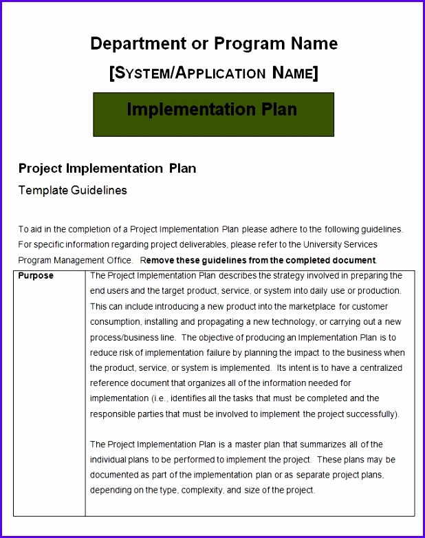 Project Implementation Plan Template – 5 Free Word Excel within Implementation Plan Template 618782