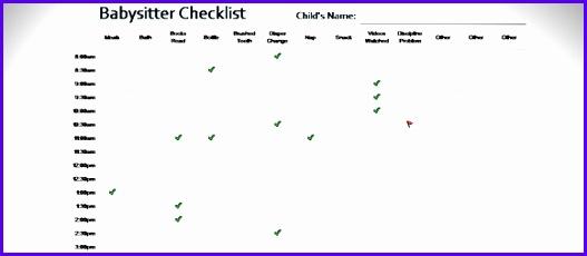 babysitter checklist template