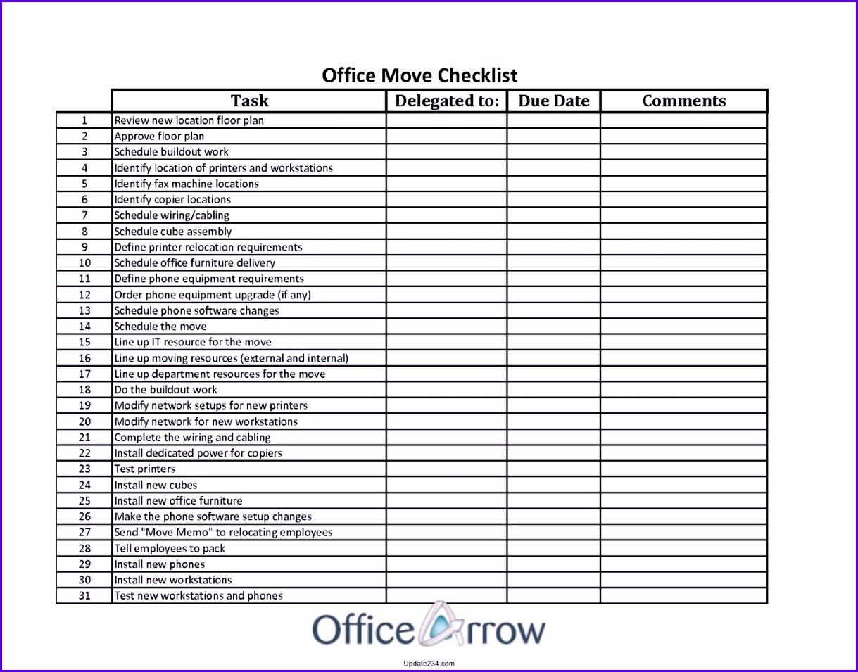 fice Move Checklist Template Excel 1219955
