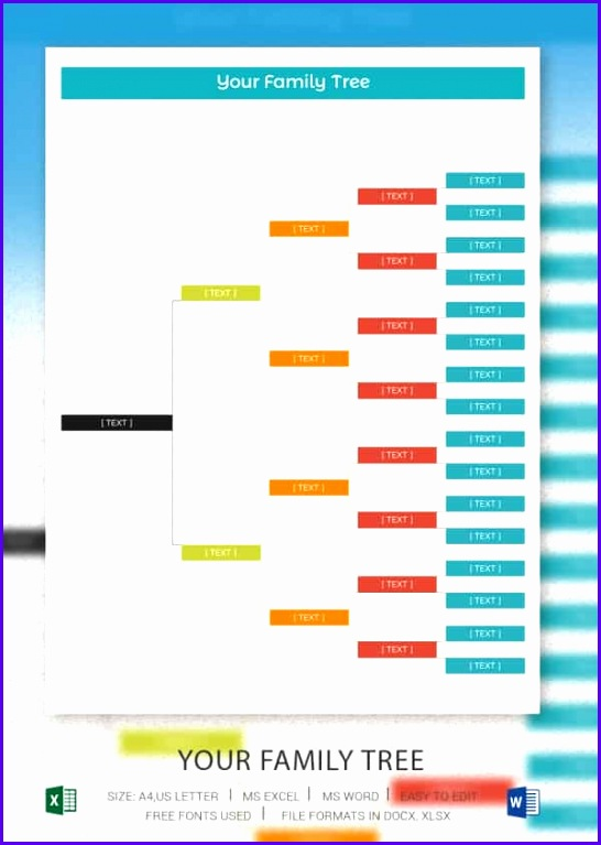 5 Generation Blank Family Tree Excel Template 546767