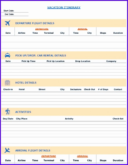 Free Excel Templates Vacation Itinerary Template 436559