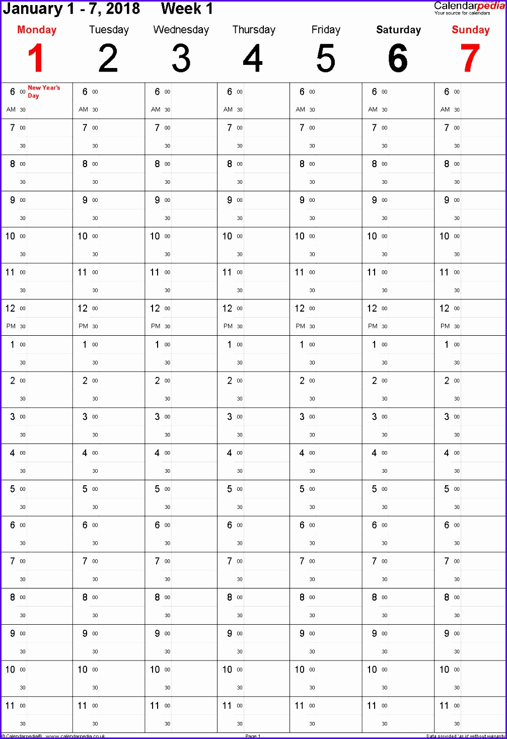 weekly calendar 2018 uk free printable templates for excel 10071468