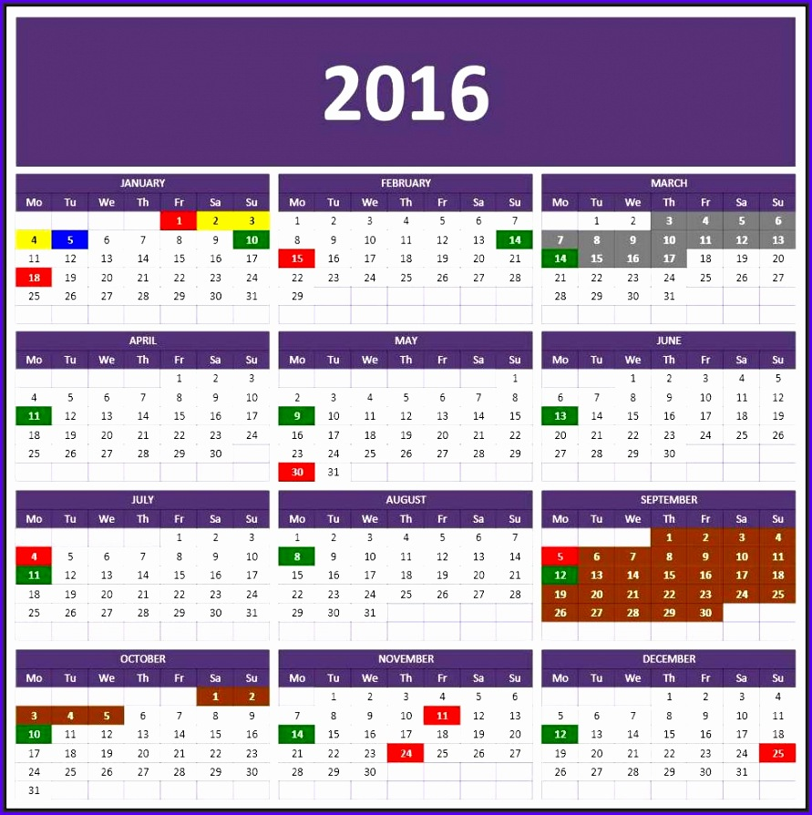 2016 Calendars 891895