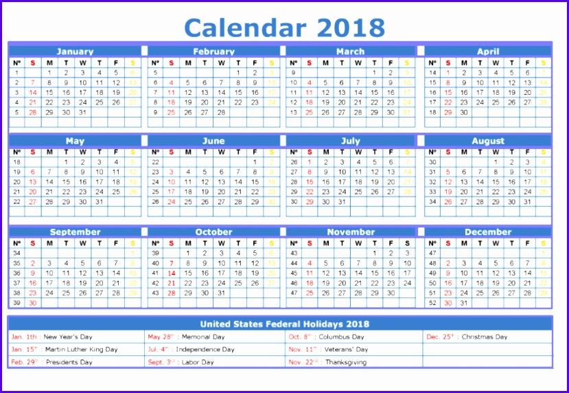 calendar template 2018 excel 829572
