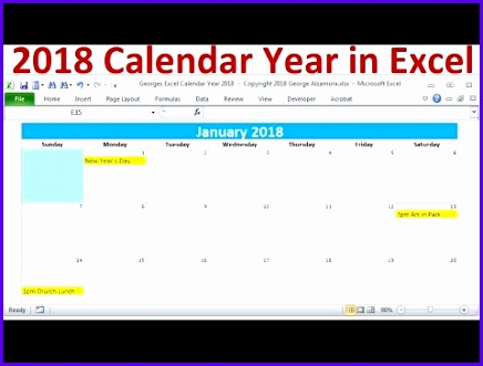 2018 Calendar Year in Excel 2018 Monthly Calendars Year 2018 Calendar with Holidays 2018 Planners 436331