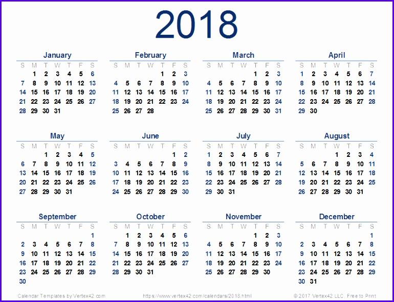 2018 monthly calendar template 770591