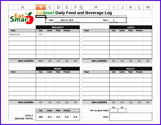 Examples Food Journal Template Excel Szena New Food Log Template 29 Free Word Excel Pdf Documents 585450