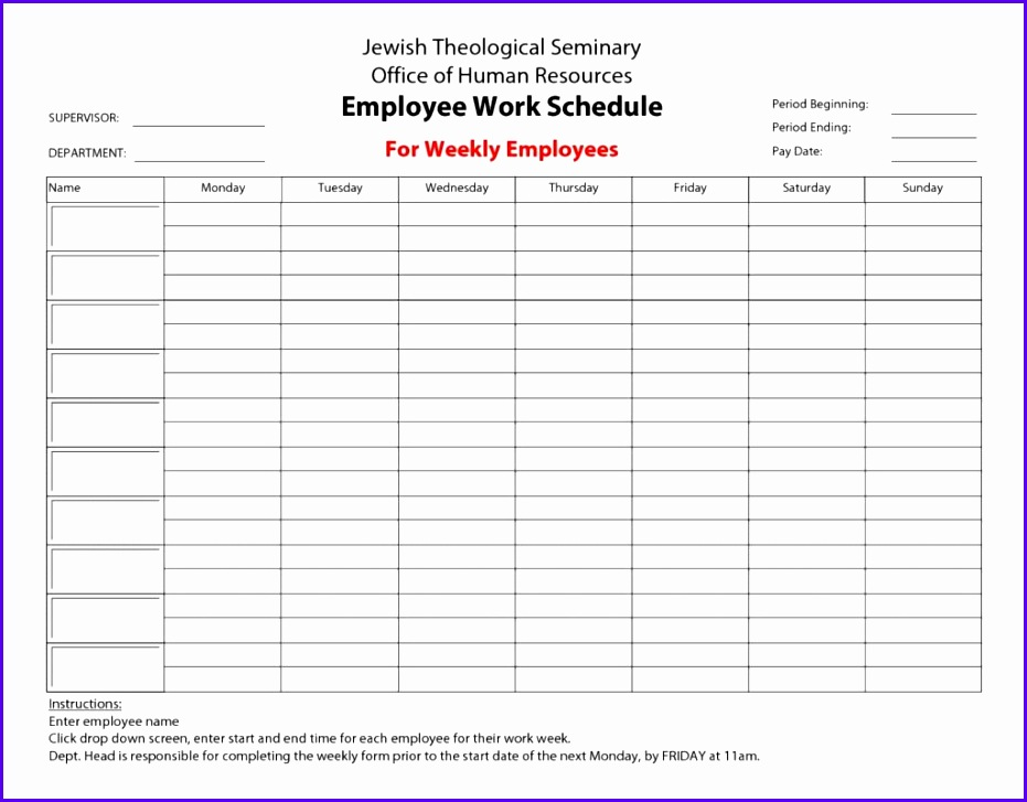 Free Excel Employee Schedule Template  Exceltemplates