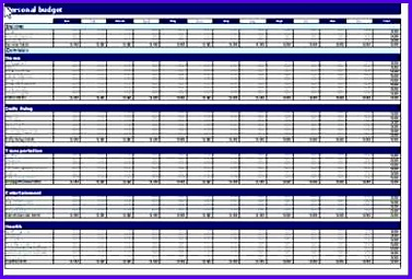 microsoft excel personal bud ing template