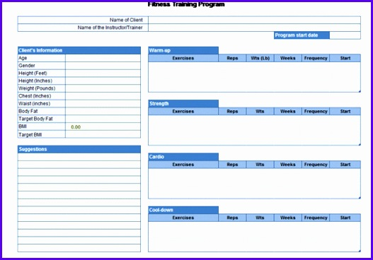 You can this free Excel template for your personal usage or to be used in a gym or fiteness center