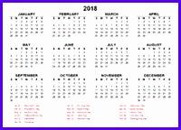 2018 Yearly Calendar Planner 200144