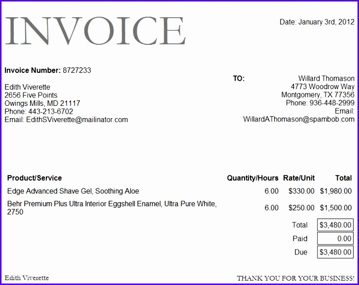 Microsoft Excel Invoice Template Download 728579