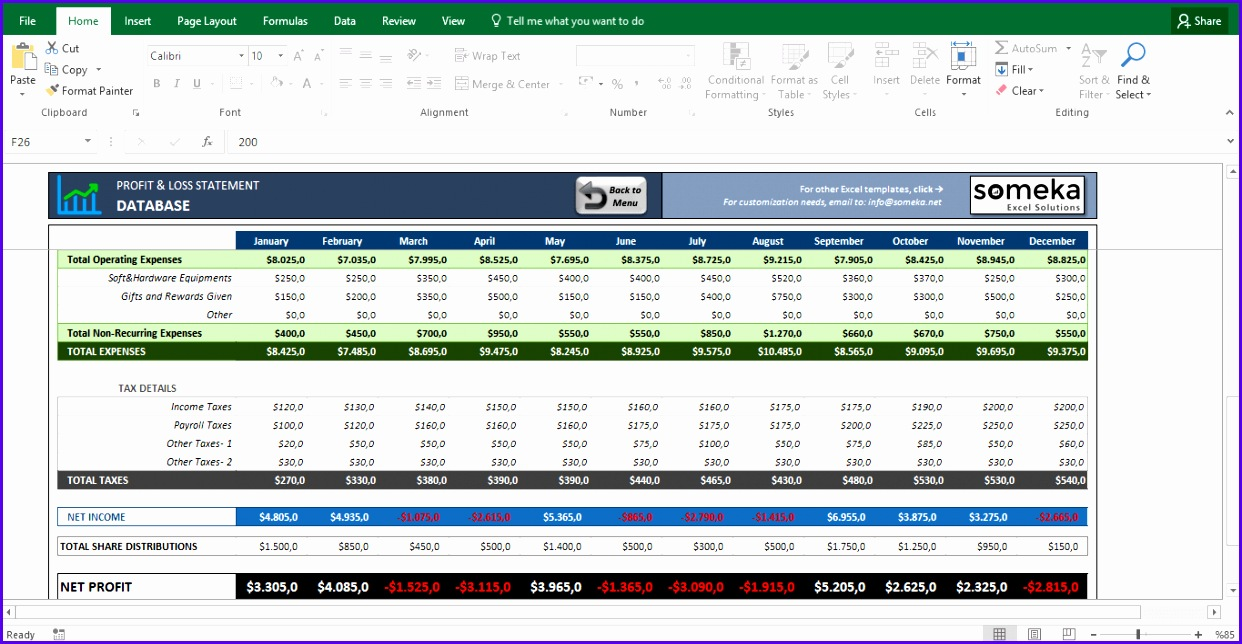 Profit and Loss Statement Template Free Excel Spreadsheet Template Screenshot Image 5 Someka 1242644