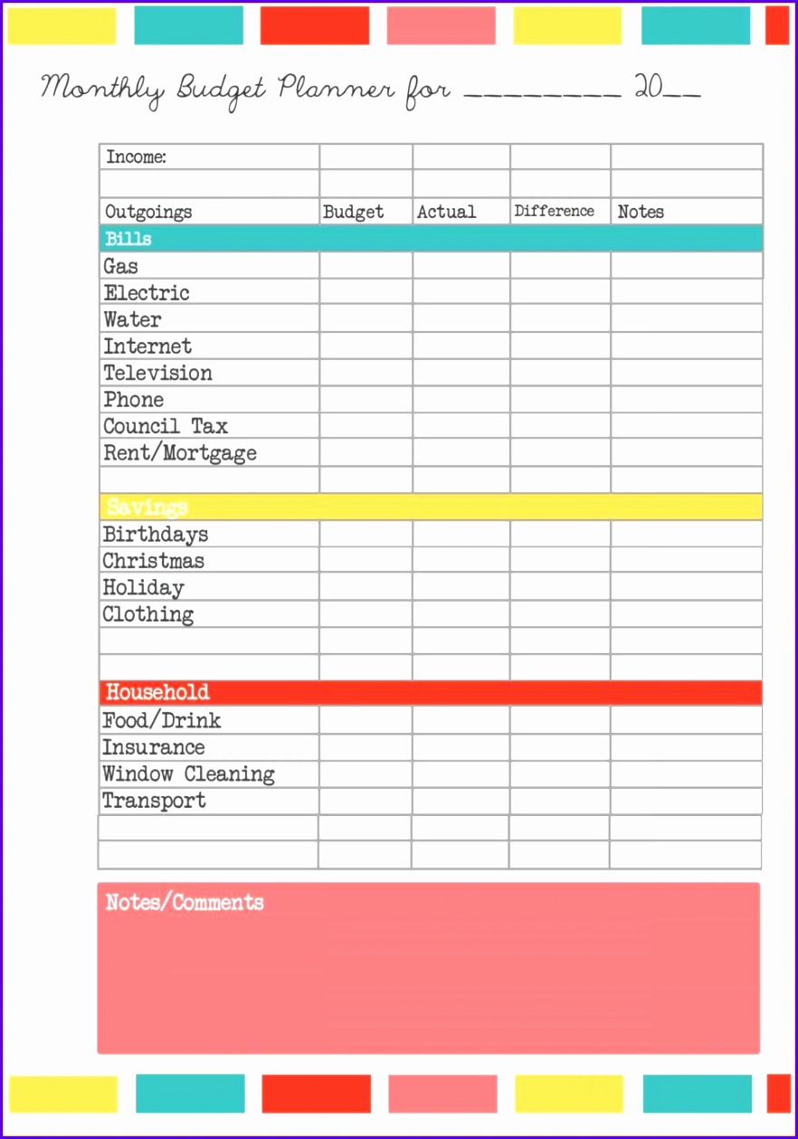 Spreadsheet Template 9 Free Printable Bud Planner Template 8821259