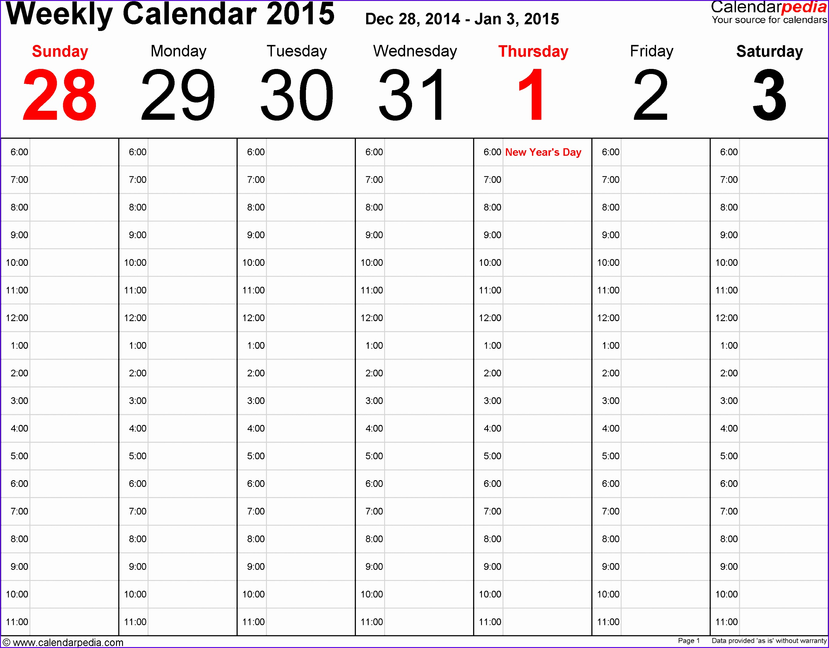 Weekly calendar template for Excel version landscape 53 pages time management layout hours per day to 27302135