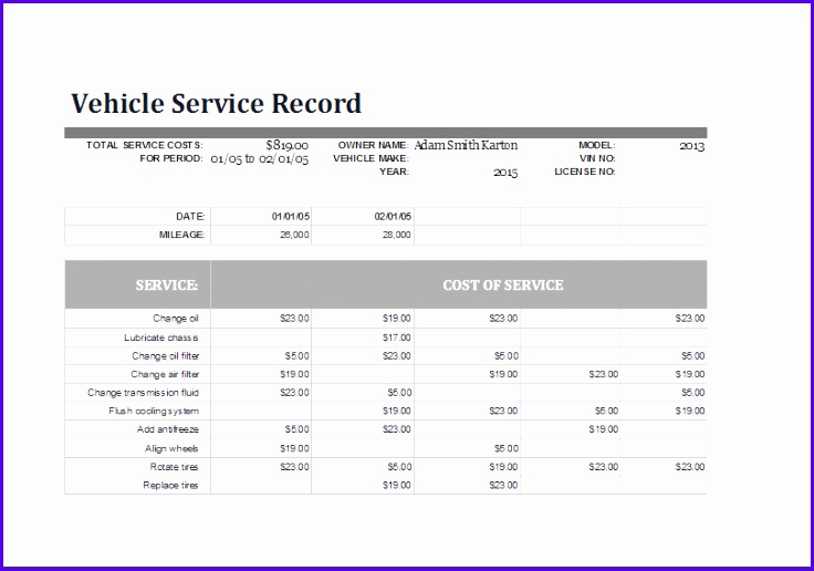 Vehicle Service Record Log 736516