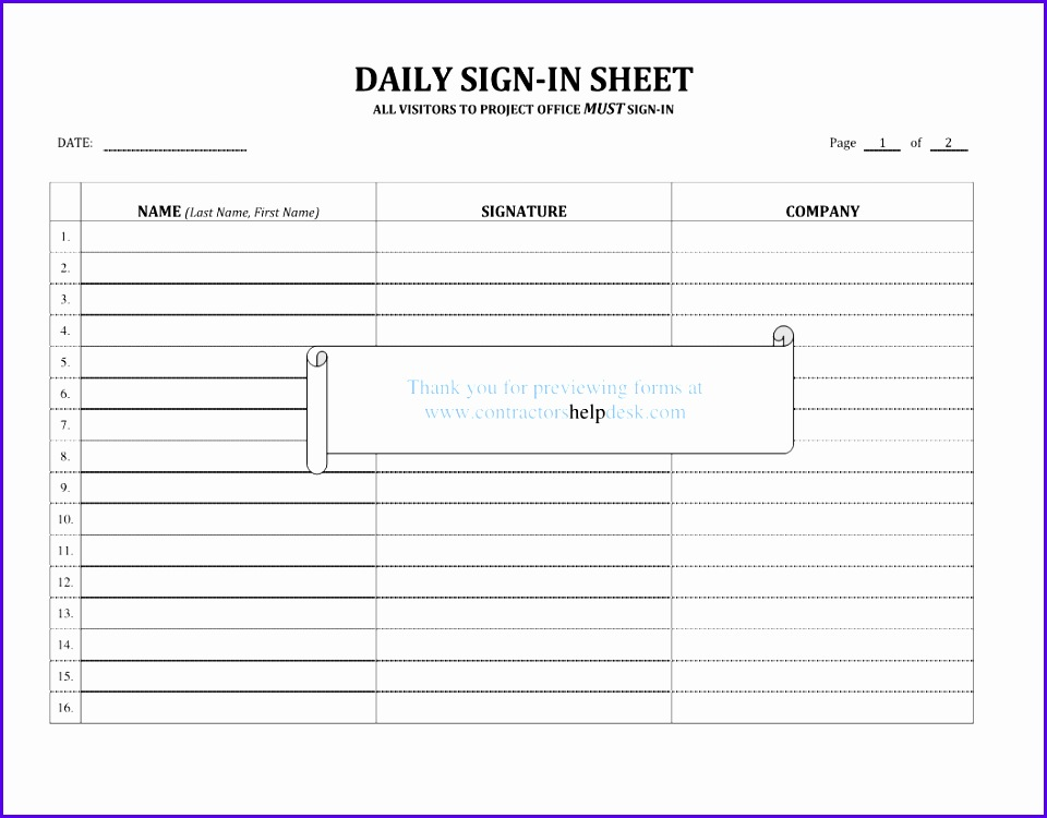 Sign In Sign Out Sheet Template Excel  Exceltemplates