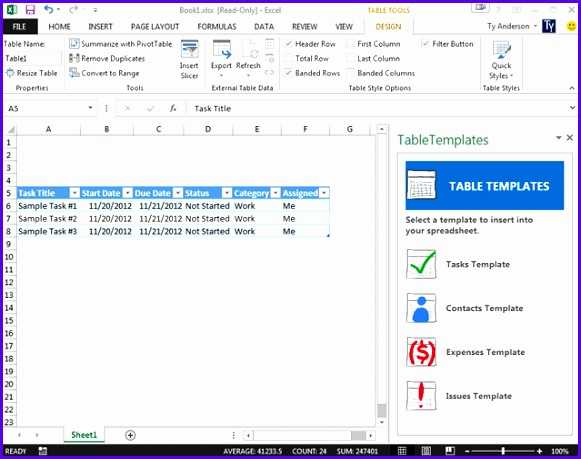 Examples Table Templates Excel Nspba Unique Creating An Excel 2013 Task Pane App 639499