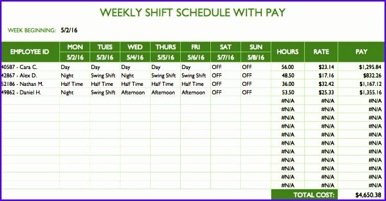 Employee Schedule Templates 756393