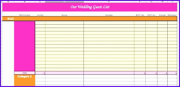 Wedding Guest List Template Excel 582283