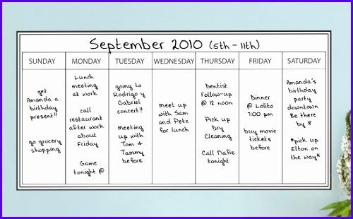 Dry Erase Weekly Calendar 500310