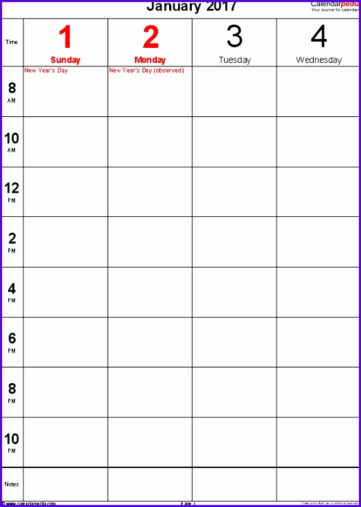 Weekly calendar 2017 template for Excel version 12 portrait 106 pages 2 527741