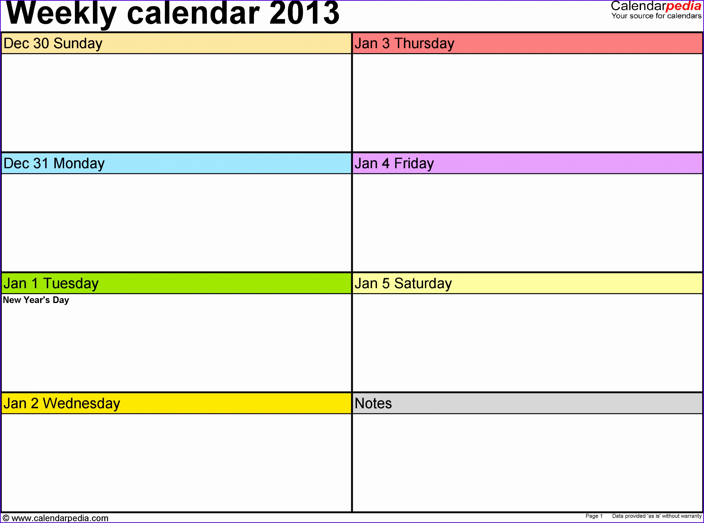 Weekly calendar 2013 template for Excel version 2 landscape 53 pages in 28482116