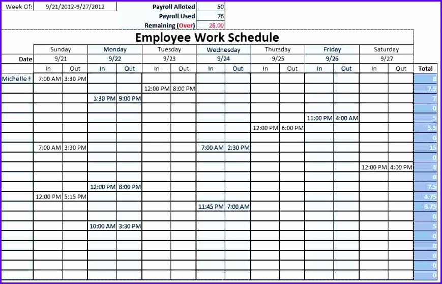 week schedule excel template 869558