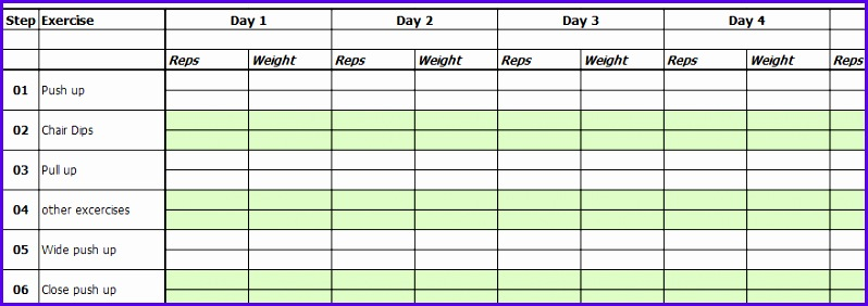 excercise chart template 798282