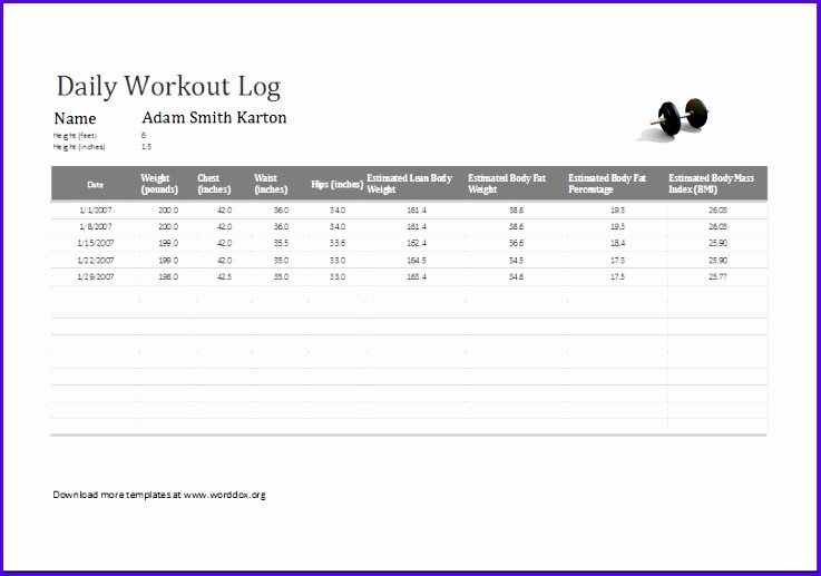 Examples Workout Excel Template Nclcg Lovely Daily Workout Log Ms Excel Editable Printable Template 810562