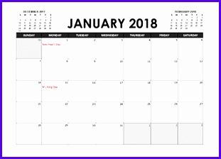 2018 Excel Calendar Planner 311224