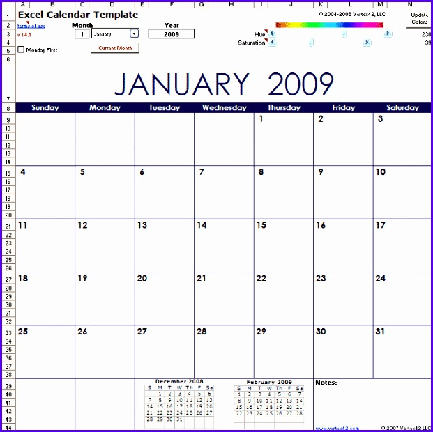Original Excel Calendar Template Screenshot