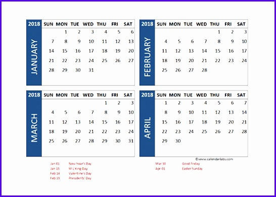 2018 Excel 4 Month Calendar Template