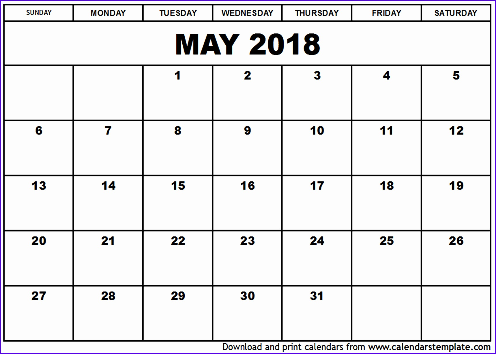 May 2018 Calendars for Word Excel & PDF 17191229