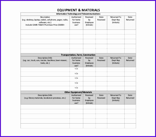 Employee Assigned Asset Tracking Sample Format Template 532469