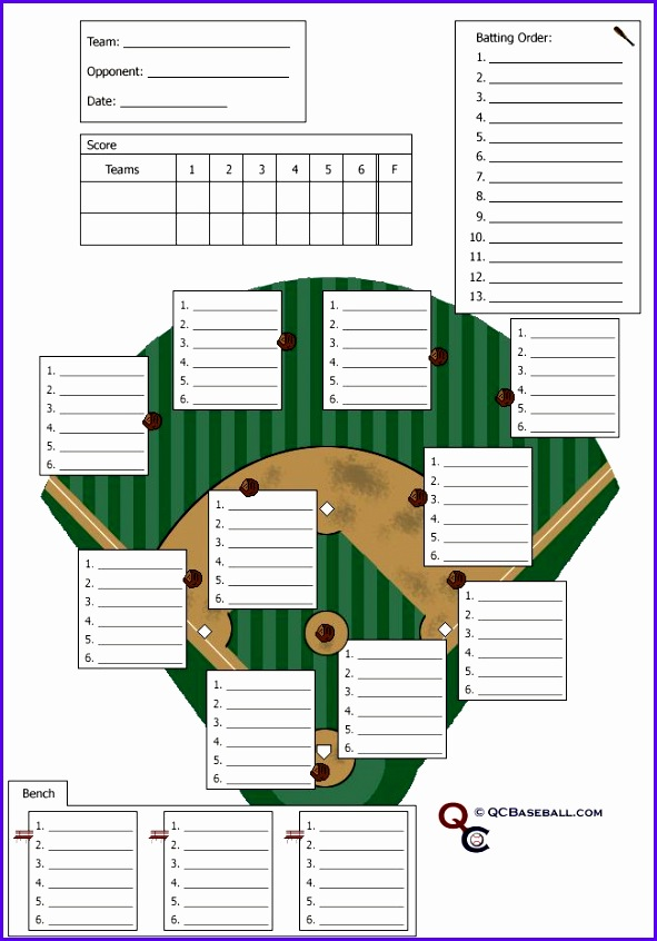 Baseball Field Lineup Template 591846